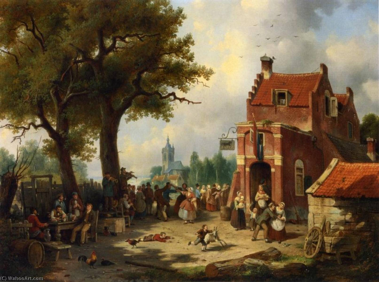 Buy Museum Art Reproductions | Festivities outside the Inn, 1862 by Jacques François Carabain (1834-1933) | WahooArt.com