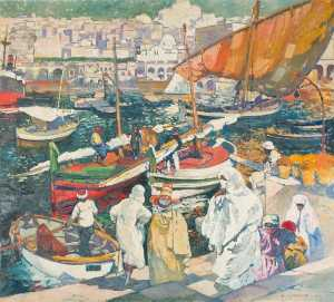 Léon Cauvy - Fisherman at the So Called Dock of the Admiralty, Algiers