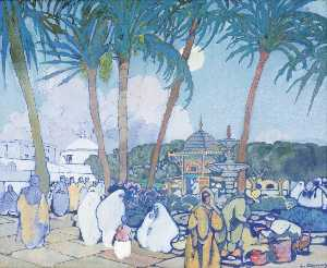 Léon Cauvy - The Market before the Fishery Mosque