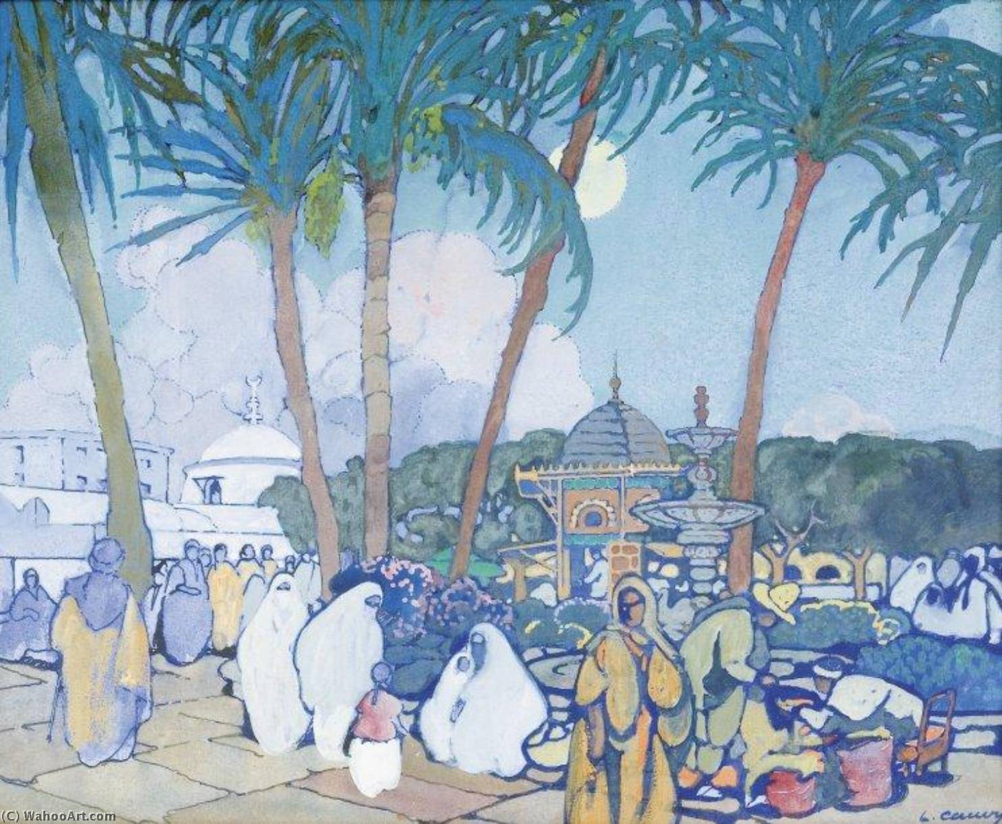The Market before the Fishery Mosque, Watercolour by Léon Cauvy (1874-1933)