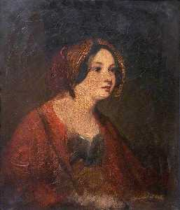 Margaret Sarah Carpenter - A Girl in a Red Cloak (study)