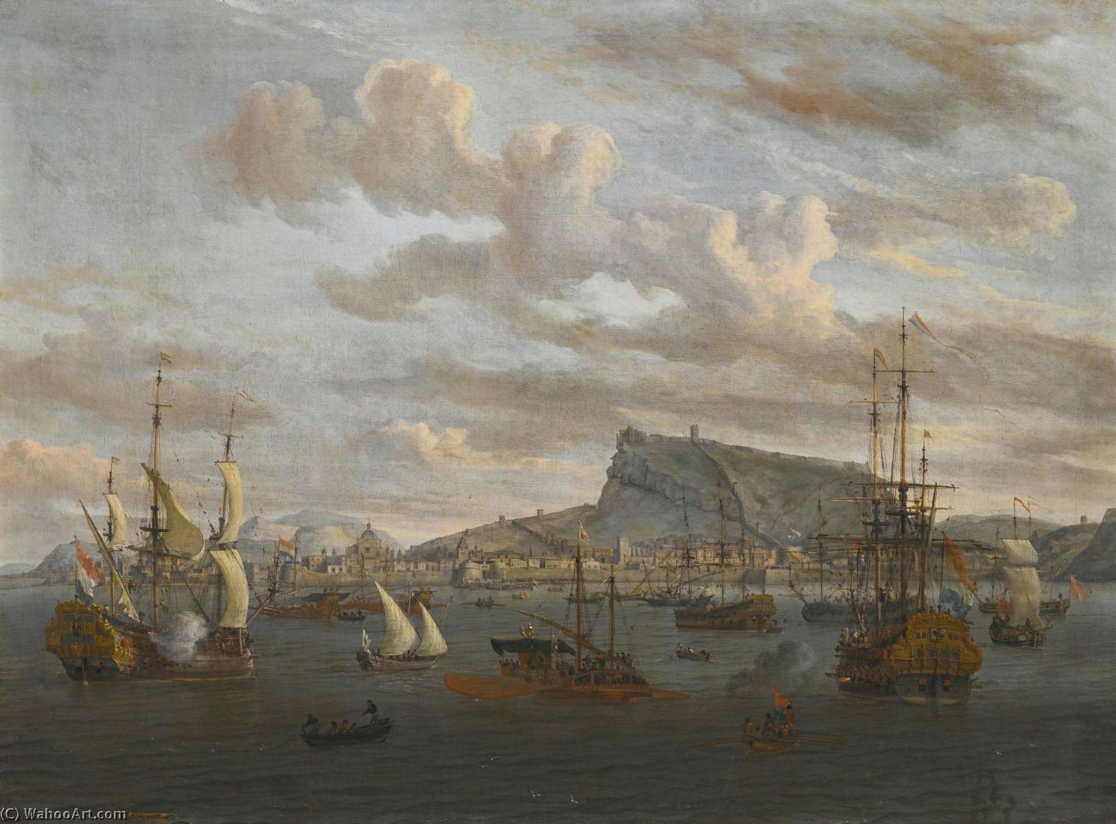 A view of Nafplion in Greece, with Dutch Indiamen, galleys and other vessels offshore, Oil On Canvas by Abraham Jansz Storck
