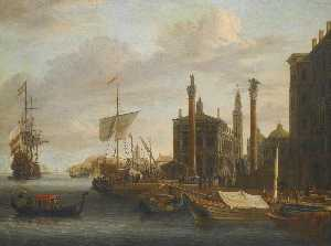 Abraham Storck (Sturckenburch) - A capriccio of Venice, with Saint Mark's Basilica and the Doge's Palace