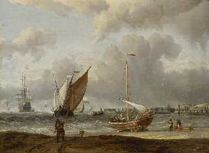 Abraham Storck (Sturckenburch) - Fishing Boats in a Storm off the Dutch Coast