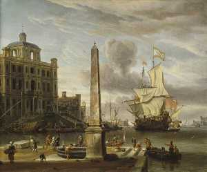 Abraham Storck (Sturckenburch) - Italianate Harbour View with a Fantasy Building and Man o- War