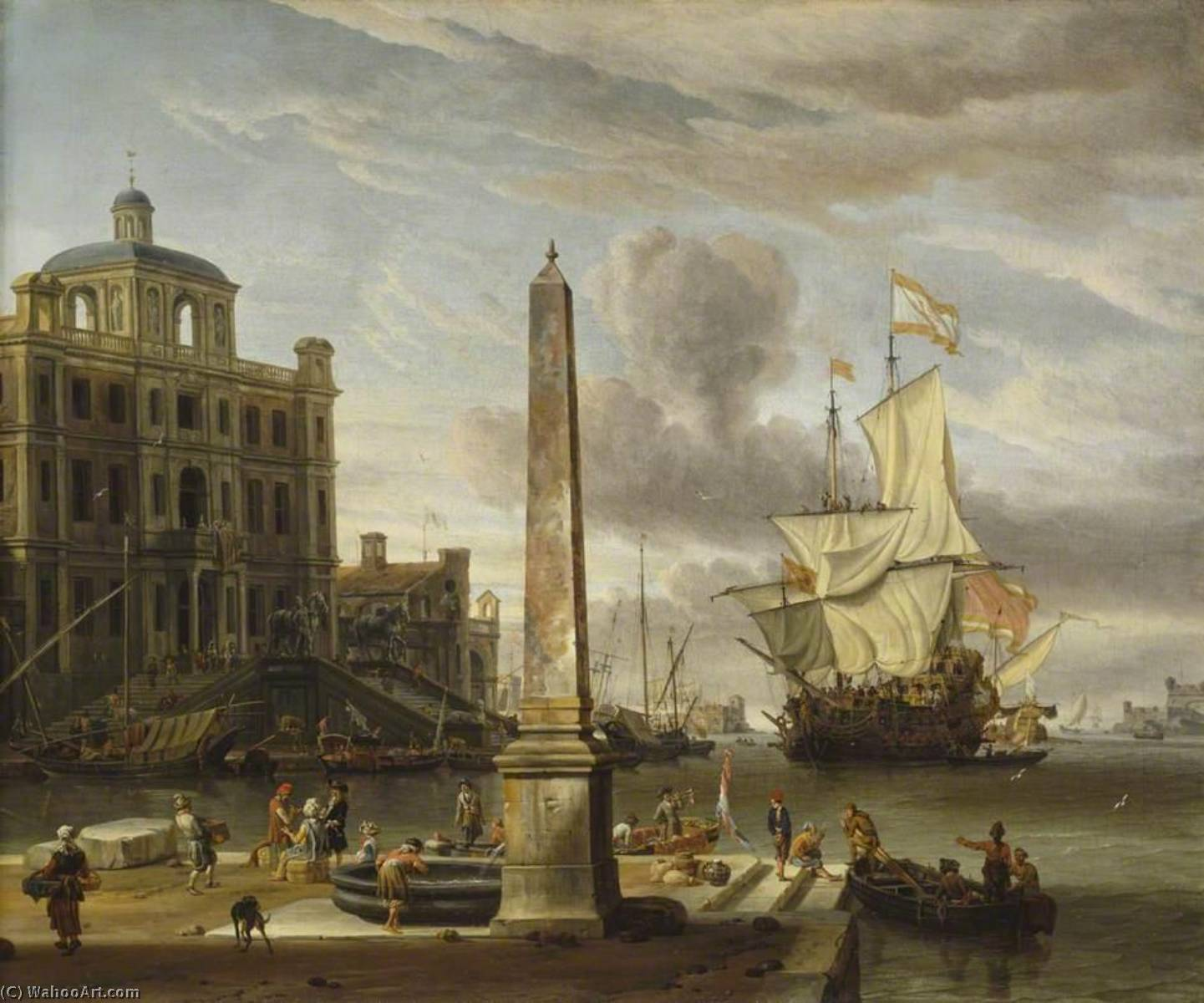 Italianate Harbour View with a Fantasy Building and Man o' War, Oil On Canvas by Abraham Storck (Sturckenburch) (1644-1708, Netherlands)
