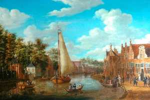 Abraham Storck (Sturckenburch) - Dutch Canal Scene with Rigged Sailing Vessels and Figures among the Terraced Houses of Holland