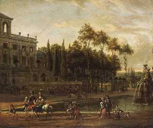 Abraham Storck (Sturckenburch) - An Italianate Park Landscape
