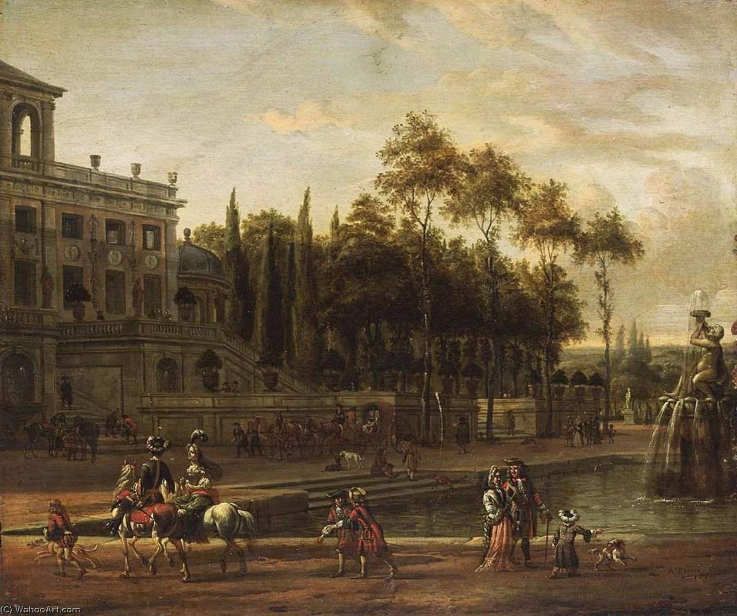 An Italianate Park Landscape, Oil On Panel by Abraham Storck (Sturckenburch) (1644-1708, Netherlands)