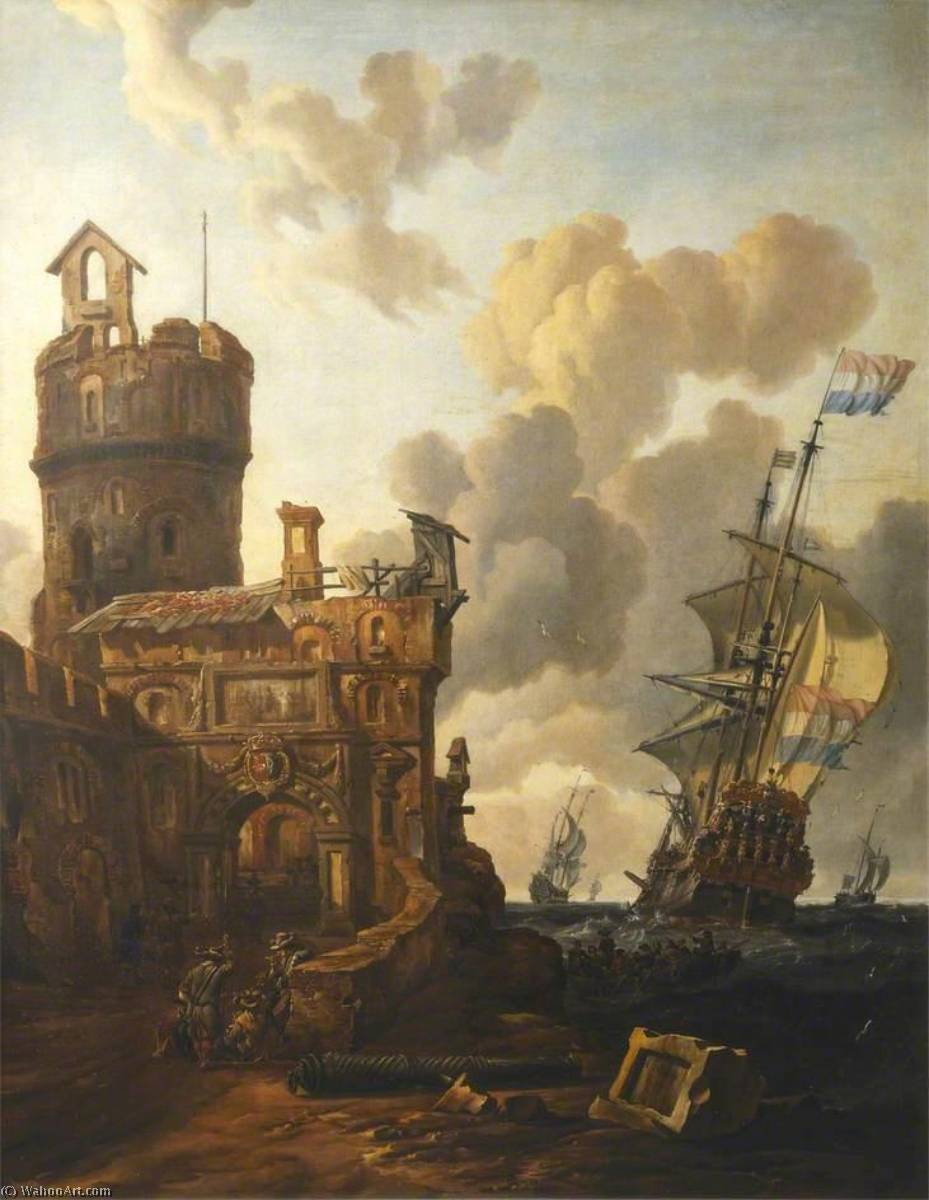 A Dutch Ship Passing a Fort, Oil On Canvas by Abraham Jansz Storck