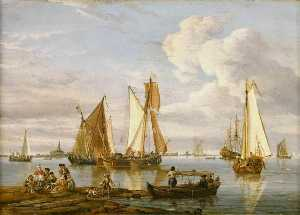 Abraham Storck (Sturckenburch) - Dutch Shipping in an Estuary