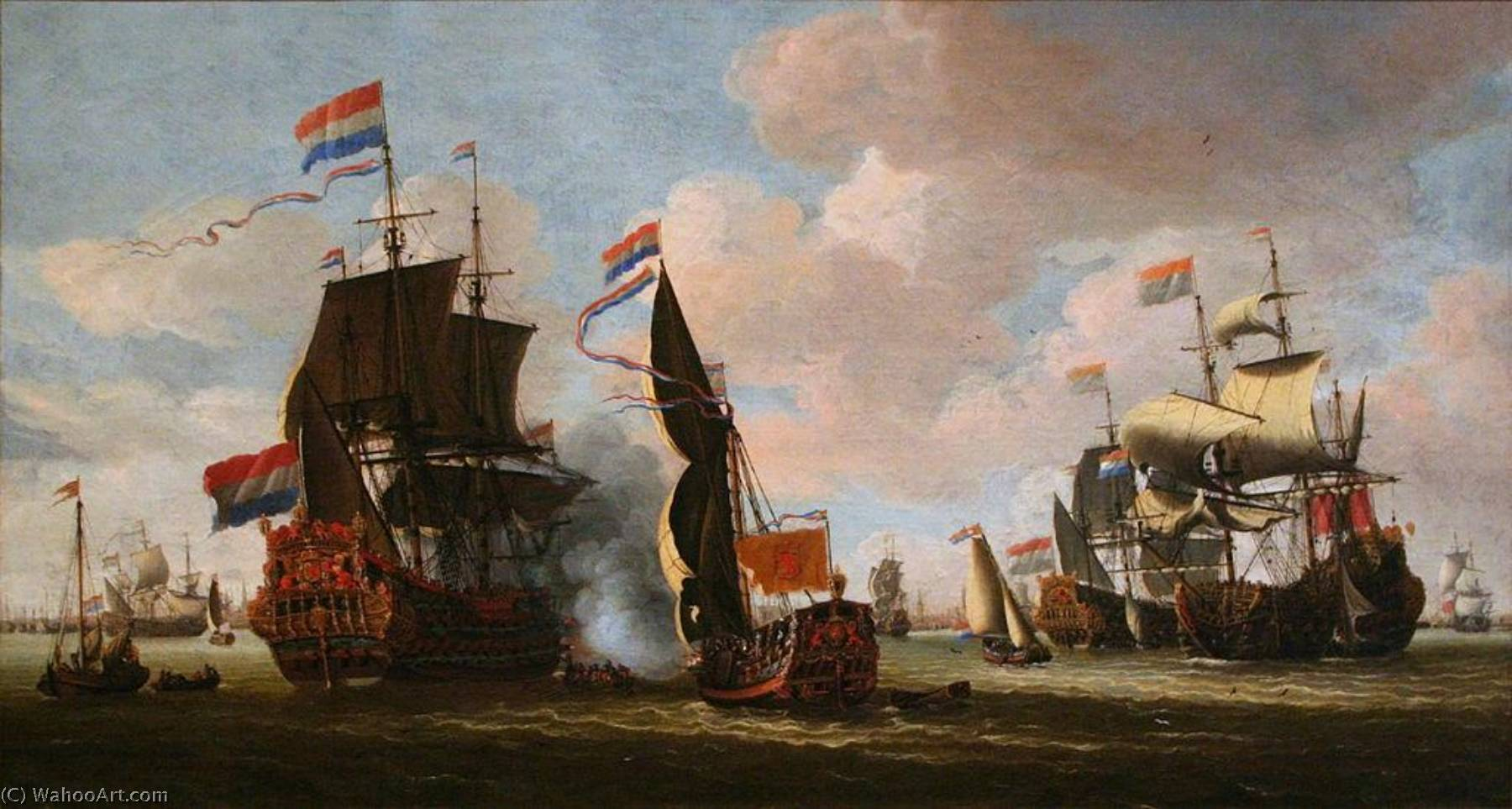 The Dutch Fleet in the Harbour of Amsterdam, Oil On Canvas by Abraham Storck (Sturckenburch) (1644-1708, Netherlands)