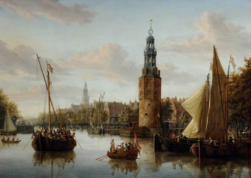 Harbour Scene, Amsterdam with the Montelbaans (Mint) Tower, Oil On Canvas by Abraham Storck (Sturckenburch) (1644-1708, Netherlands)
