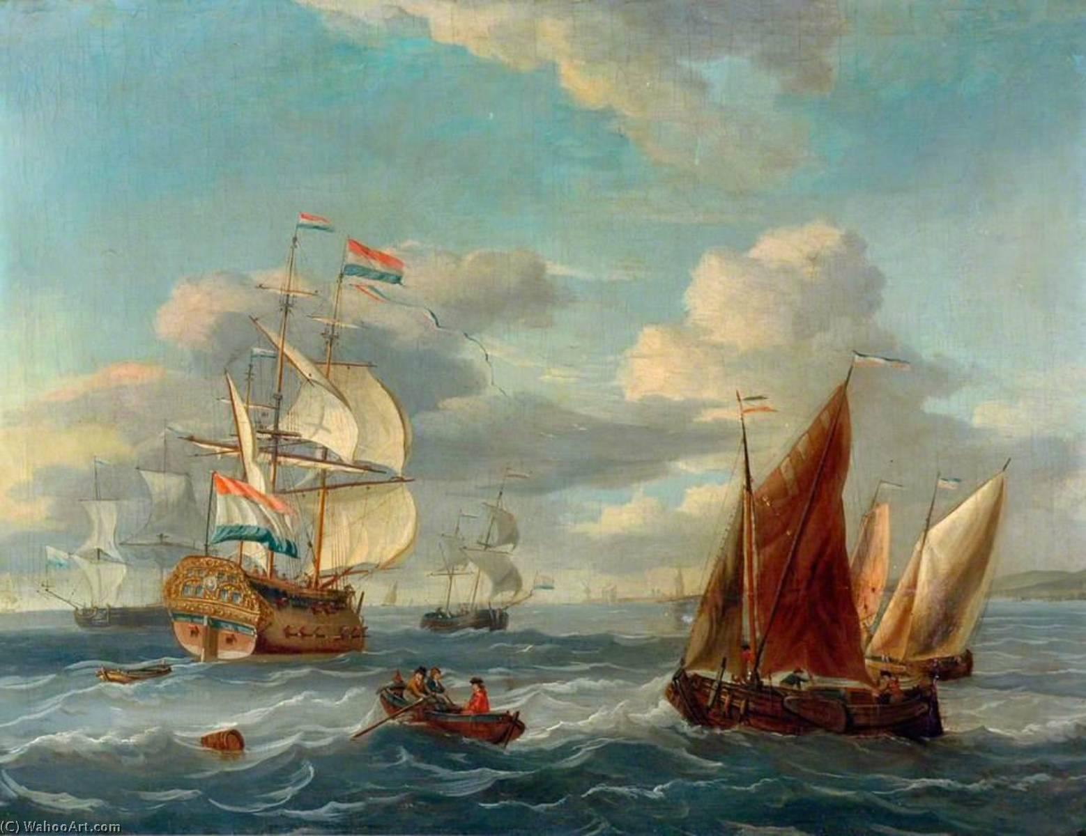 A Dutch Two Decker and Other Vessels Offshore in a Choppy Sea, Oil On Canvas by Abraham Storck (Sturckenburch) (1644-1708, Netherlands)