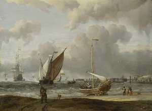 Order Hand Made Painting Fishing Boats in a Storm off the Dutch Coast at Den Helder, 1675 by Abraham Storck (Sturckenburch) (1644-1708, Netherlands) | WahooArt.com | Order Painting Reproduction Fishing Boats in a Storm off the Dutch Coast at Den Helder, 1675 by Abraham Storck (Sturckenburch) (1644-1708, Netherlands) | WahooArt.com