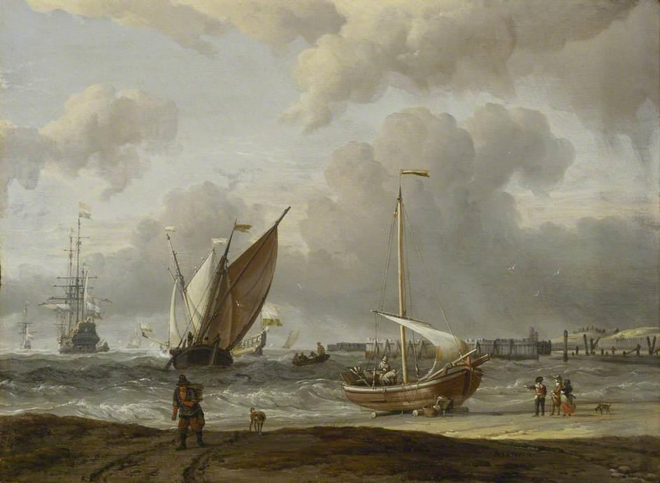 Fishing Boats in a Storm off the Dutch Coast at Den Helder, Oil On Panel by Abraham Storck  (order Fine Art oil painting Abraham Storck (Sturckenburch))