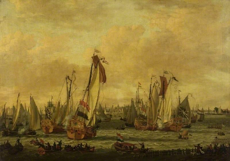 A Marine Sham Fight on the Y Before Amsterdam, Oil On Canvas by Abraham Jansz Storck