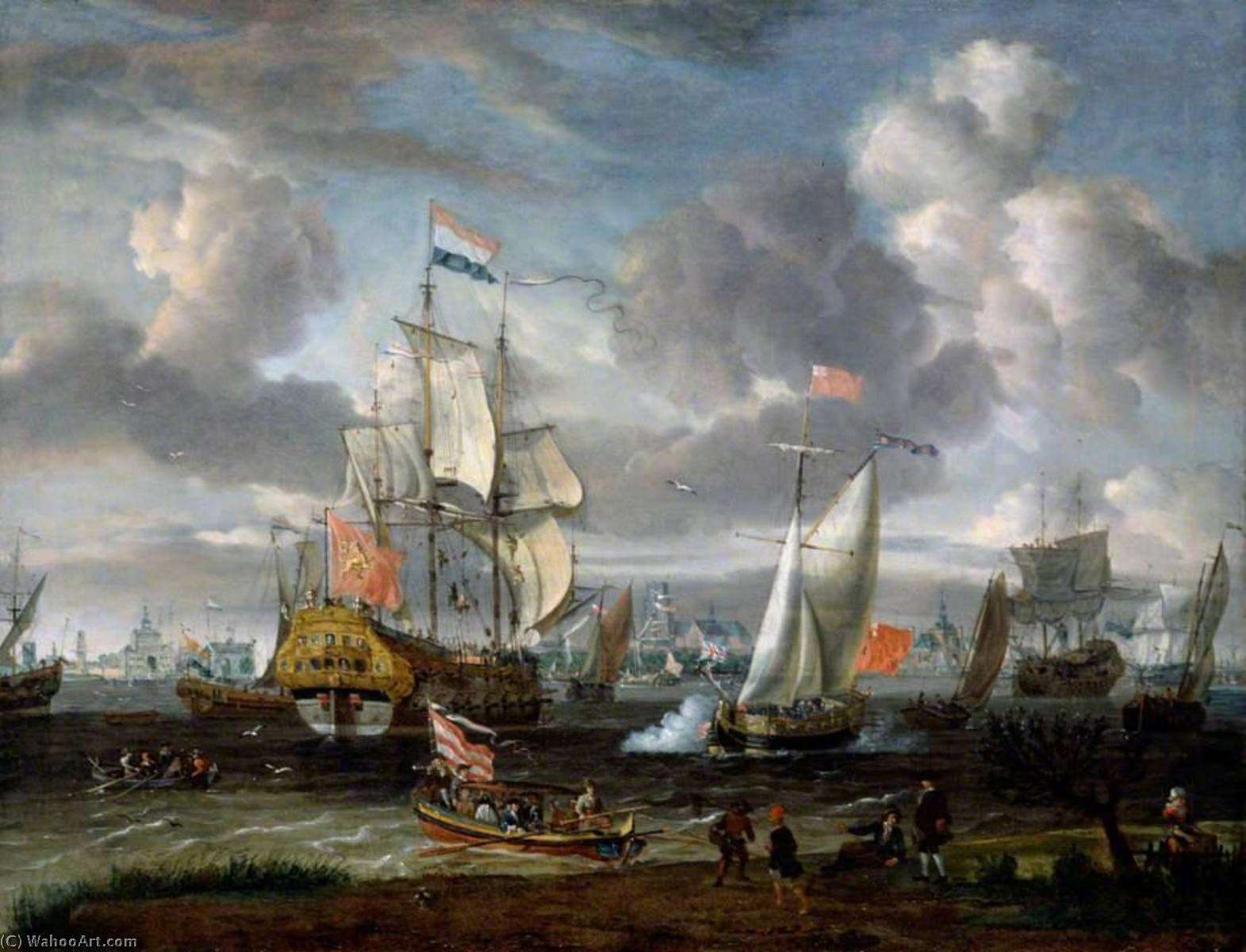 An English Yacht Saluting a Dutch Man of War in the Port of Rotterdam, Oil On Canvas by Abraham Storck (Sturckenburch) (1644-1708, Netherlands)