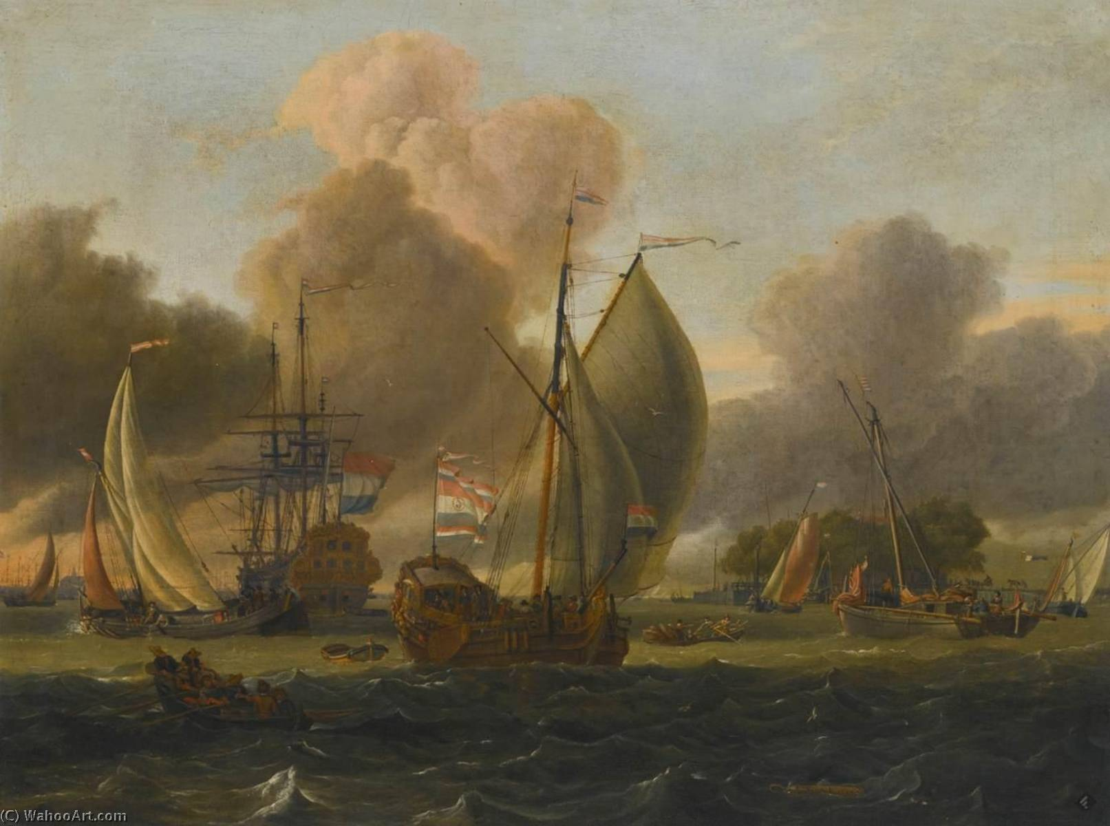 Dutch Man 'O War, States Yacht and Other Ships in a Fresh Breeze, Oil On Canvas by Abraham Jansz Storck