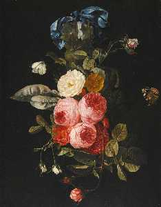 Carstian Luyckx - Still life of pink, yellow and white roses hanging from a blue ribbon with a red admiral and a cabbage white