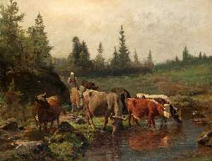 Anders Monsen Askevold - Landscape with Cattle Watering