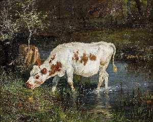 Anders Monsen Askevold - Grazing Cow at the Riverside