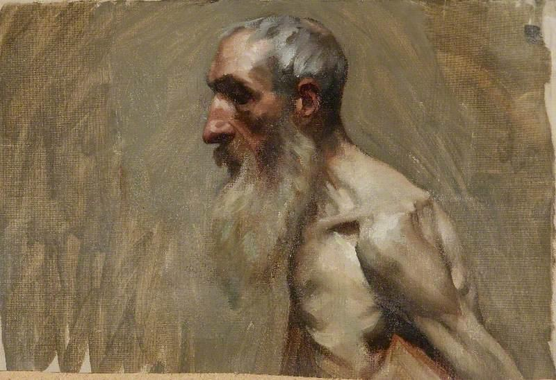 Half Length Portrait of a Nude Man with a Beard, Oil On Canvas by Brian Hatton
