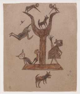 Bill Traylor - Untitled (Construction with Yawping Woman)