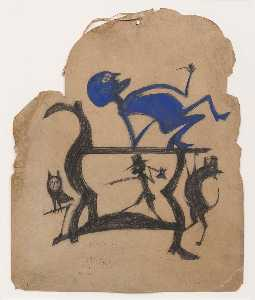 Bill Traylor - Untitled (Legs Construction with Blue Man)