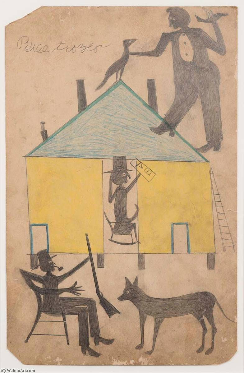 Untitled (Yellow and Blue House with Figures and Dog), Pen by Bill Traylor