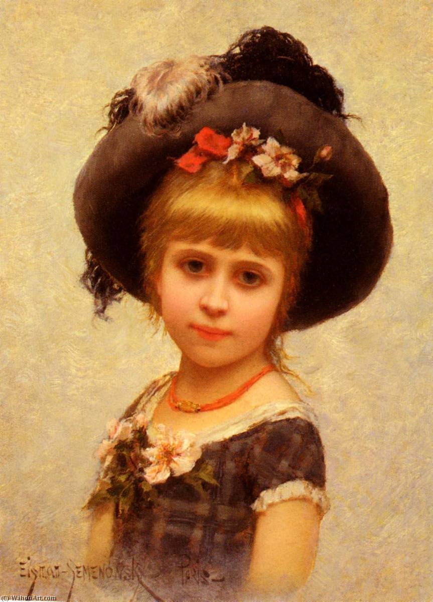 The Hat by Emile Eisman Semenowsky (1859-1911) | Oil Painting | WahooArt.com