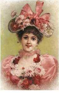 Emile Eisman Semenowsky - Elegant Lady with Pink Ribbons