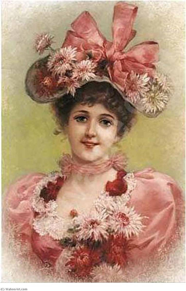 Elegant Lady with Pink Ribbons by Emile Eisman Semenowsky (1859-1911)