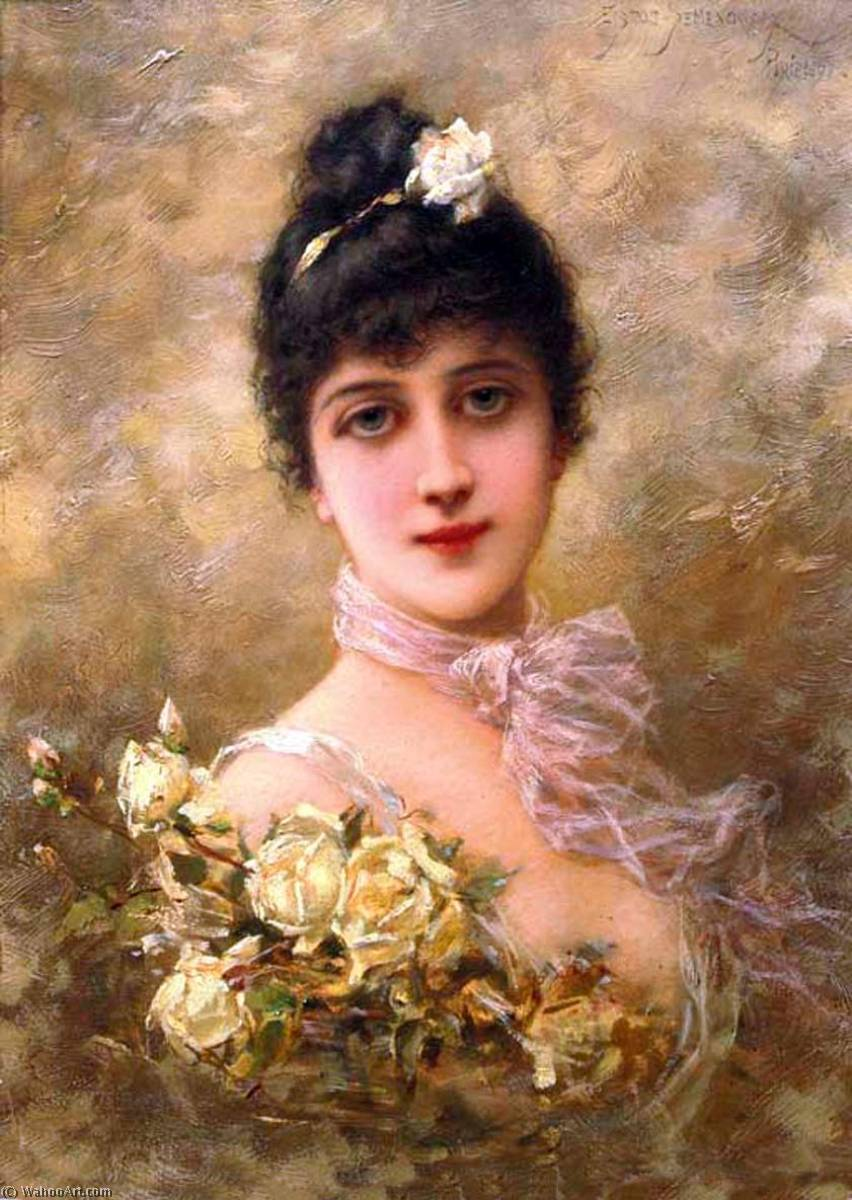 Elegant Lady with Yellow Roses, Oil On Panel by Emile Eisman Semenowsky (1859-1911)