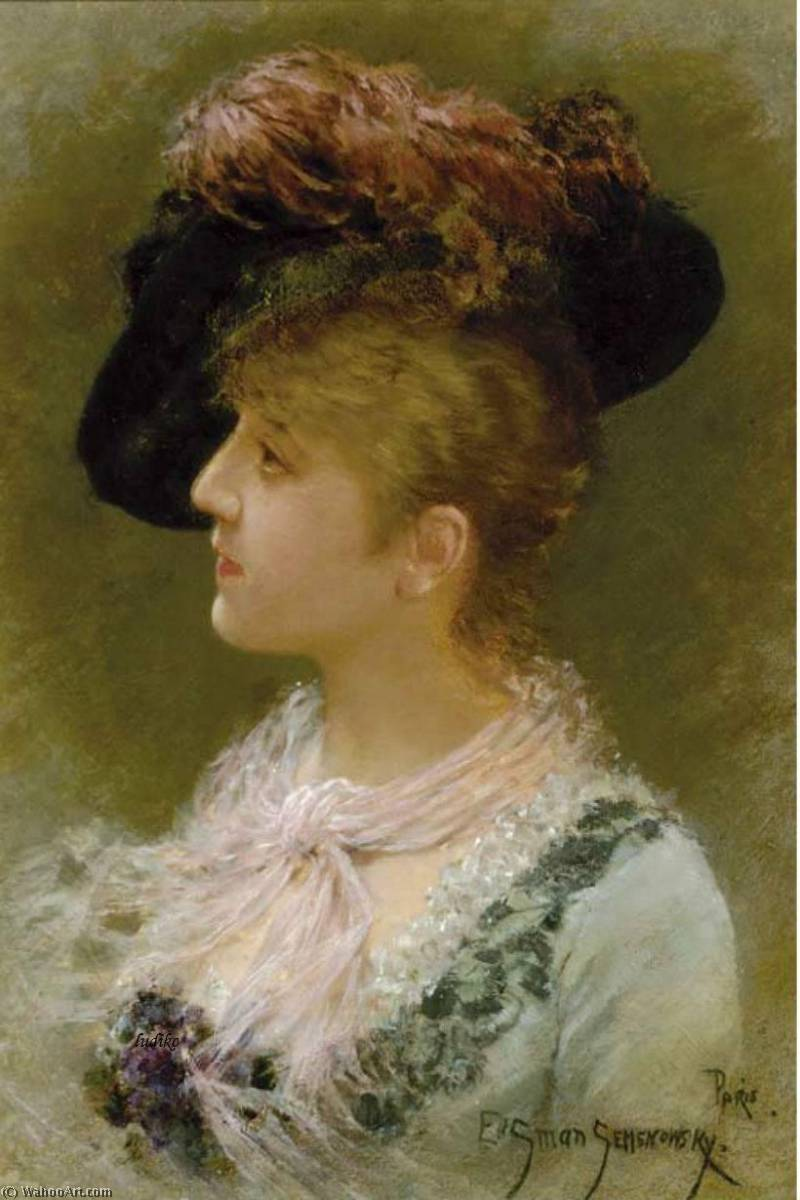 The Feathered Hat by Emile Eisman Semenowsky (1859-1911)