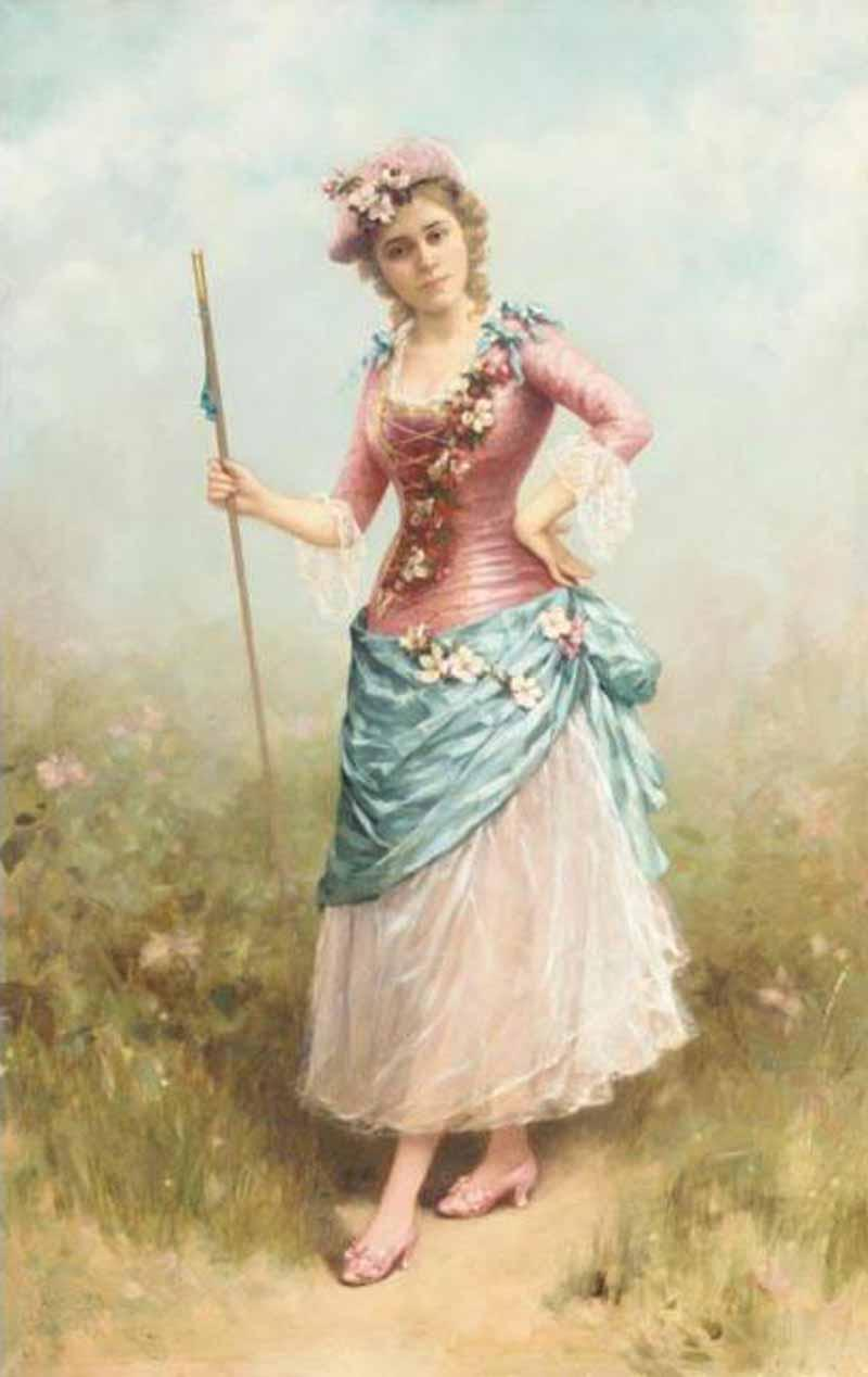 Lady Dressed as a Shepherdess by Emile Eisman Semenowsky (1859-1911) | Famous Paintings Reproductions | WahooArt.com