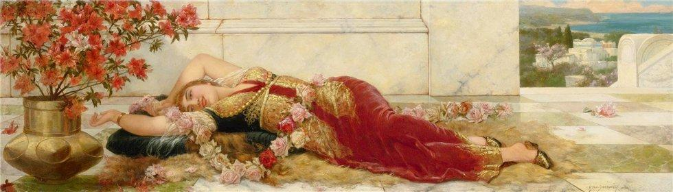 A Languid Harem Beauty, Oil On Panel by Emile Eisman Semenowsky (1859-1911)