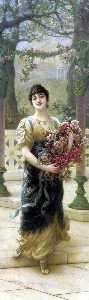 Emile Eisman Semenowsky - A Lady with Flowers