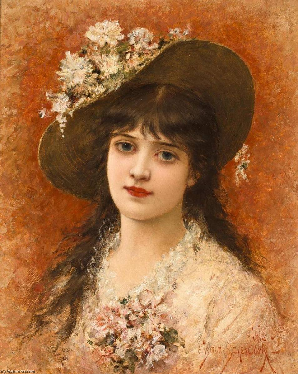 Girl with Hat by Emile Eisman Semenowsky (1859-1911)