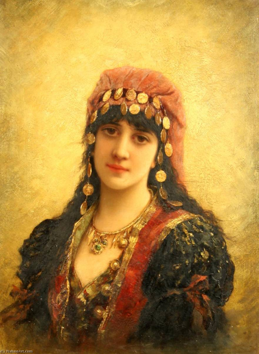 An Eastern Beauty by Emile Eisman Semenowsky (1859-1911) | Famous Paintings Reproductions | WahooArt.com