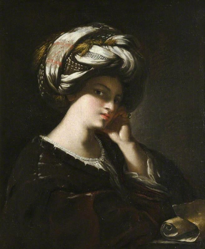 Girl with a Large Turban (A Sibyl), Oil On Canvas by Francesco Del Cairo (1607-1665)