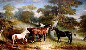 John E Ferneley I - A Group of Ponies in the Park
