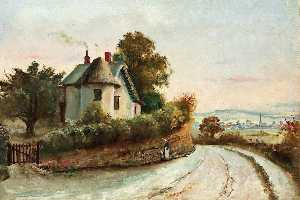 Arthur John Evans - Monmouth from the Staunton Road with a Cottage and a Spring
