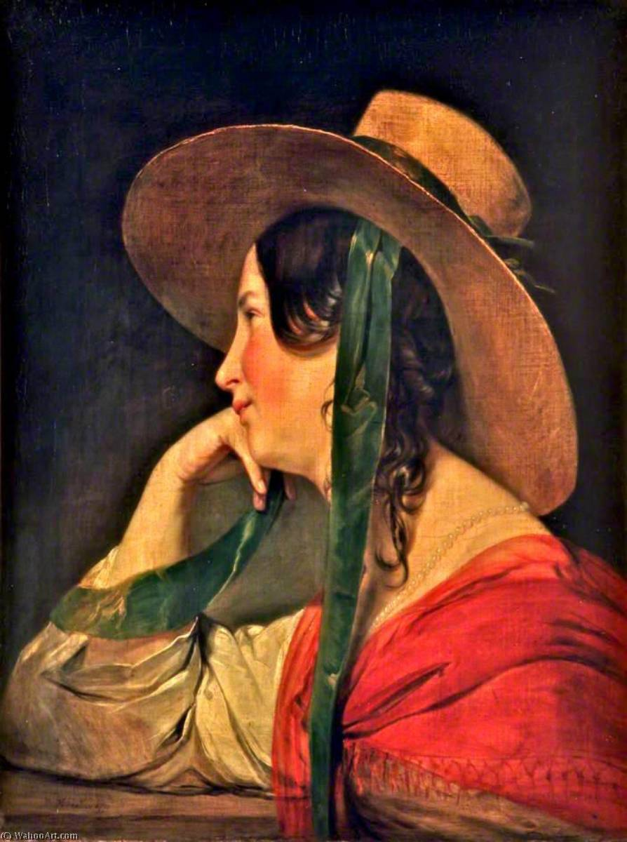A Lady in a Large Straw Hat, 1840 by Friedrich Ritter Von Amerling (1803-1887) | Oil Painting | WahooArt.com