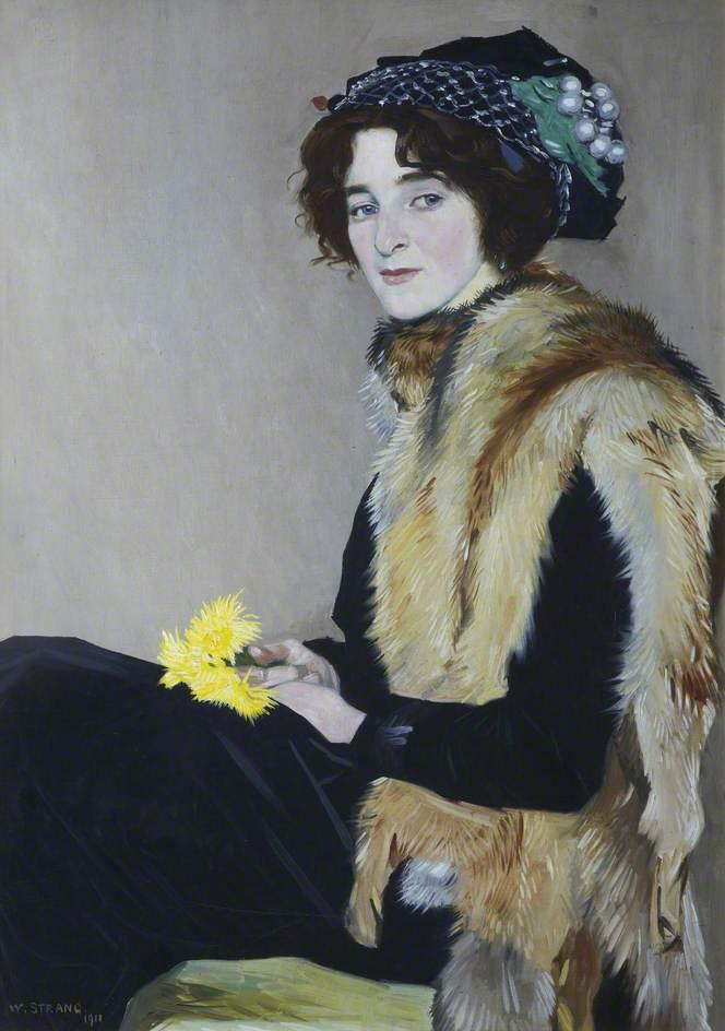 Girl with a Fur Cape, 1911 by William Strang (1859-1921) | Art Reproduction | WahooArt.com