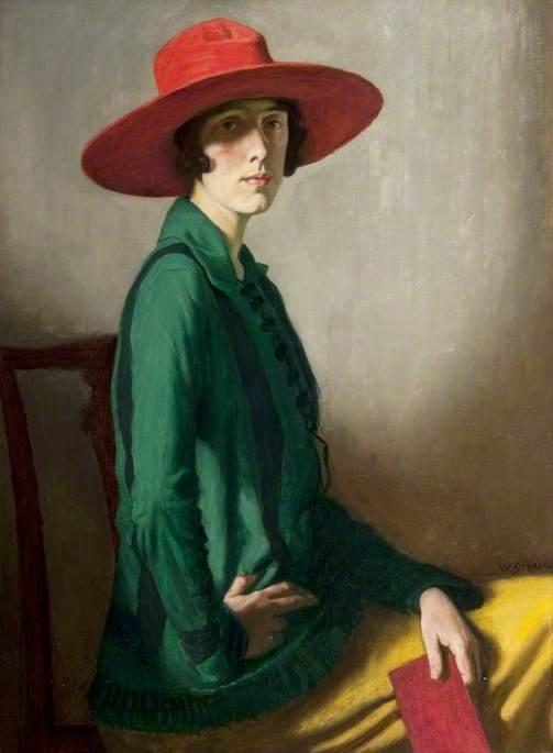 Lady with a Red Hat, Oil On Canvas by William Strang (1859-1921)