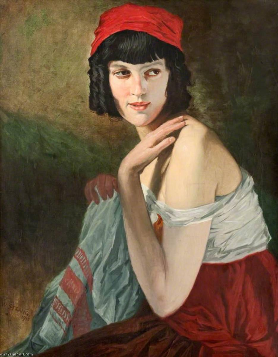 Italian Girl, Oil On Canvas by William Strang (1859-1921)