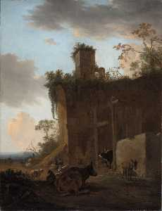 Jan Asselijn - Italianate Landscape with Drovers, Cattle and Sheep beside Ruins