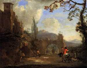 Jan Asselijn - Landscape with Ruins and a Hunting Party