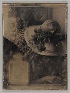 Joseph Cornell - Untitled (two young women with flowers and straw hats)